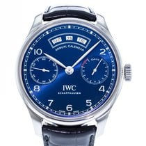 IWC Portuguese Annual Calendar pre-owned 44mm Blue Date Month Leather
