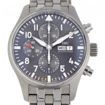 IWC Fliegeruhr Spitfire Chronograph Stahl 43mm Grau Arabisch Schweiz, Lugano