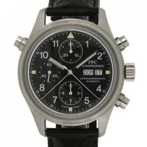 IWC Pilot Double Chronograph Stal 42mm Czarny