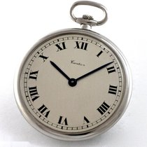 Cartier Platin Handaufzug Silber Römisch 43mm gebraucht