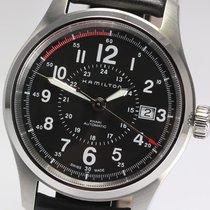 Hamilton KHAKI FIELD AUTO Steel-Black Leather Strap 40mm...