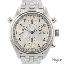 IWC Pilot Double Chronograph Steel 42mm White Arabic numerals