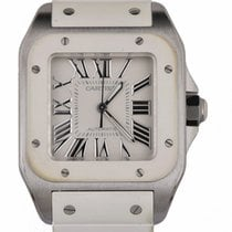 Cartier Santos 100 pre-owned 33mm White Rubber