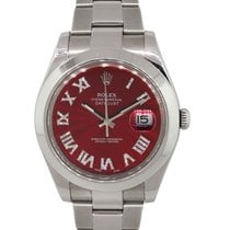 Rolex Datejust II Steel 41mm Red Roman numerals