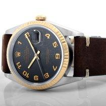 Rolex 1991 18K/SS DATEJUST Black Jubilee Arabic - Leather - 16233