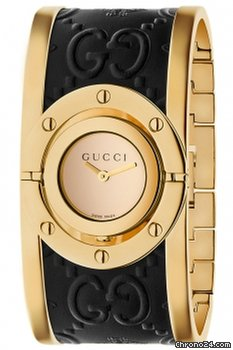 49c5fd6429c Gucci Gold PVD SS Bangle Leather Twirl Blooms Yellow Gold PVD SS Bangle  Leather Band Women Leather Band Women Watch YA112444 - Fiyatları  Chrono24 te ...