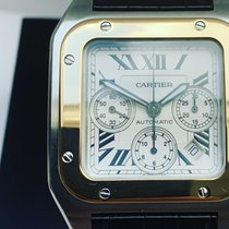 Cartier Santos 100 Ouro/Aço 42mm Romanos