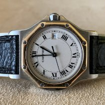 Cartier Santos (submodel) pre-owned White Date Gold/Steel