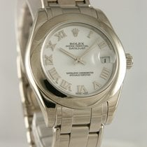 Rolex Ouro branco Automático Branco Romanos 32mm usado Lady-Datejust Pearlmaster
