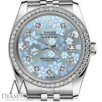 Rolex Baby Blue Rolex 36mm Datejust Floral Design Diamond Dial...