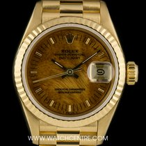 Rolex 18k Yellow Gold O/P Rare Wood Dial Datejust Ladies...