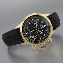 IWC Geelgoud Quartz Zwart Arabisch 36mm tweedehands Pilot Chronograph