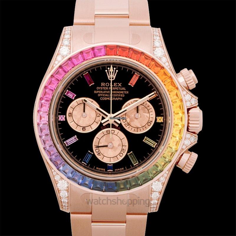 Rolex Cosmograph Daytona Rainbow 18k Rose Gold O40mm For