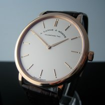 A. Lange & Söhne Red gold Manual winding Silver (solid) No numerals 40mm pre-owned Saxonia