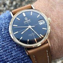 Omega Seamaster De Ville 14K Gold mens Black dial watch + Box