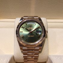 Rolex Day-Date 40mm Green Dial Rose Gold B&P