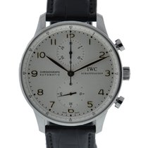 IWC Portuguese Chronograph Stainless Steel Silver Dial Gold...