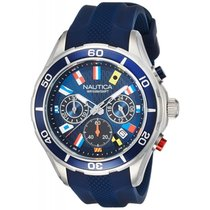 Nautica NAD16534G Chronograph Watch Flags Blue