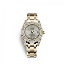 Rolex Yellow gold Automatic Silver 34mm new Pearlmaster