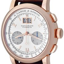 A. Lange & Söhne Rose gold Manual winding Silver Roman numerals 39mm pre-owned Datograph