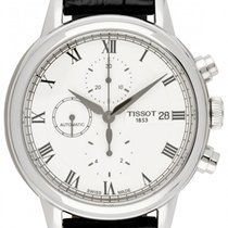 Tissot Carson pre-owned 42.3mm White Chronograph Date Leather