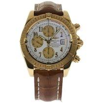 Breitling Gelbgold Automatik Weiß Arabisch 43mm gebraucht Chronomat Evolution