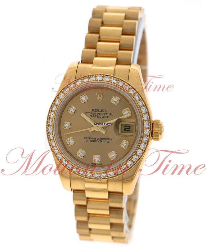 c6fe75199e0 Rolex Datejust Ladies 26mm, Champagne Diamond Dial, Diamond Bezel - Yellow  Gold on Jubilee Bracelet