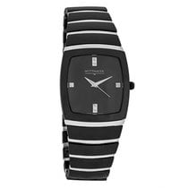 Wittnauer Mens Black Ceramic Diamond Dress Swiss Quartz Watch...