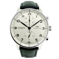 IWC IW371445, Portuguese Chronograph, Silver Dial, Steel&L...