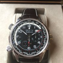 Zenith El Primero Doublematic pre-owned 45mm Black Chronograph Flyback Date Alarm GMT Leather