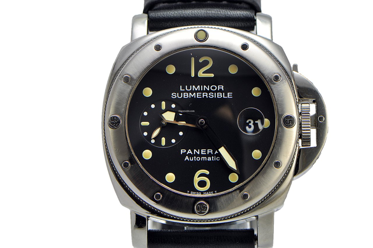 Panerai Panerai Submersible Pam 024 Ss On Leather Full