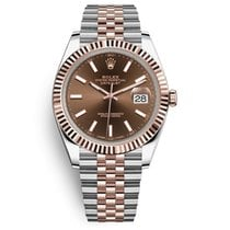 Rolex Datejust II Rose Gold & Steel Brown Dial Fluted Bezel