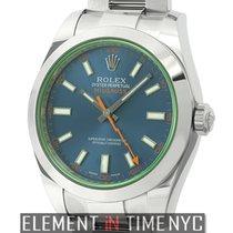 Rolex Milgauss Stainless Steel 40mm Green Crystal Z-Blue Dial