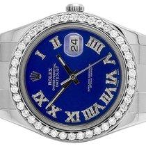 Rolex Mens 41 MM 116300 Rolex Datejust II S.Steel Blue Roman...