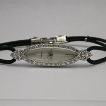 Bulova 14k White Gold & Diamonds Black Cord Band Women&#39...