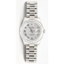 Rolex Lady-Datejust Or blanc 26mm Nacre Romain