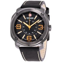 Wenger Edge Black Dial Leather Strap Men's Watch 01.1051.106