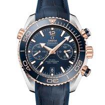 Omega Roségold Automatik Blau neu Seamaster Planet Ocean Chronograph