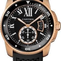 Cartier Calibre de Cartier Diver Pозовое золото 42mm Чёрный Римские