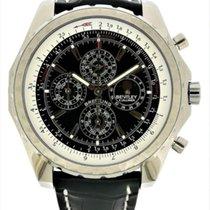 Breitling Bentley Mark VI gebraucht Schwarz Mondphase Chronograph Datum Wochentagsanzeige Monatsanzeige Jahresanzeige Vierjahreskalender Tachymeter Krokodilleder