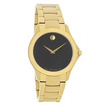 Movado Masino Mens Black Dial Gold Tone Swiss Quartz Watch...