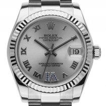 Rolex Datejust Medium Stahl Weißgold Saphir Automatik Armband...