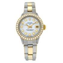Rolex Oyster Perpetual Lady Date Aur/Otel 26mm Sidef Fara cifre