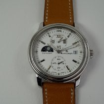 Blancpain Léman pre-owned 38mm White Chronograph Date GMT Leather