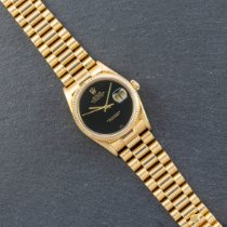 Rolex Datejust rabljen 36mm Crn Datum, nadnevak Zuto zlato