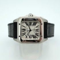Cartier Steel Automatic Silver Roman numerals pre-owned Santos 100
