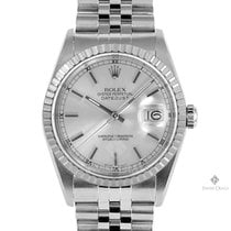 Rolex Datejust Stainless Steel Silver Stick Dial Engine Turned...