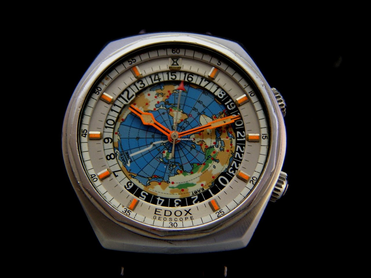 edox rare vintage geoscope automatic world timer verkauft auf chrono24. Black Bedroom Furniture Sets. Home Design Ideas