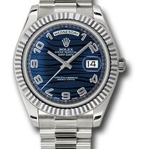 Rolex Day-Date II Or blanc 41mm Bleu Arabes