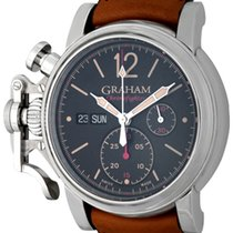Graham Chronofighter pre-owned 44mm Black Chronograph Date Leather